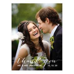Elengant Wedding Thank You Cards Simple Handwriting Wedding Thank You Postcard