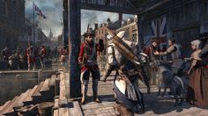 Connor halted by a redcoat in Ubisoft's Assassin's Creed III. Assassin's Creed 3, Pirate Invasion, American Flag Wallpaper, Connor Kenway, Assassins Creed Game, Ww1 Soldiers, Tower Defense, Gaming, D Gray Man