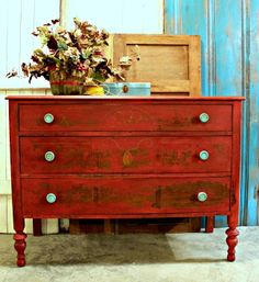 Vintage Furniture vintage dresser painted with tricycle red mms milk paint - The red dresser is painted with Miss Mustard Seed's Milk Paint and the finish came out beautifully. I just love the chippy goodness of the milk paint. Red Painted Furniture, Funky Furniture, Refurbished Furniture, Paint Furniture, Repurposed Furniture, Shabby Chic Furniture, Furniture Projects, Furniture Makeover, Vintage Furniture