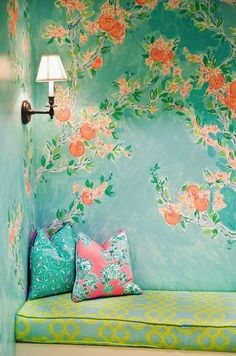 Eye For Design: Decorating With Turquoise - nice for a corner in the living room