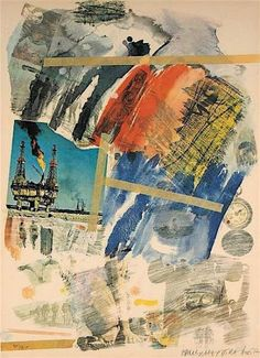 Artist: Robert Rauschenberg, American - Title: Untitled from the Horchow Portfolio Year: 1972 Medium: Offset Lithograph on Arches, signed and numbered in pencil Edition: 150 Size: 40 in. x 30 in. cm x cm) Price: On Request Robert Rauschenberg, Jasper Johns, Franz Kline, Willem De Kooning, Collage Kunst, Collage Art, Collages, Andy Warhol, Jackson Pollock