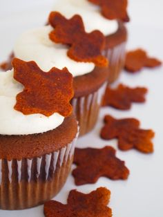 Orange Velvet Cupcakes with Cake Leaf Toppers for Thanksgiving - The leaves are made with extra cupcakes. So easy!