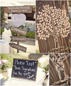 "Similiar to the finger print tree! Love it! Seconds as ""guest book.""     Orange County California Rustic Wedding"