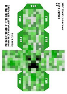 Papercraft template Minecraft Creeper More