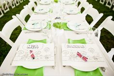I designed personalized place mats for each child attending the wedding - also doubled as a place card  #weddings, #outdoor weddings, #place mat, #whimsical  http://www.teardropweddings.com