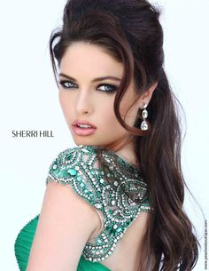 See more detail about Beaded Cap Sleeved Sherri Hill Prom Gown 11181..