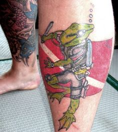 Scuba Diving Tattoos | Frogman tattoo on one of the Bangalore Boyz: design drawn by his son ...