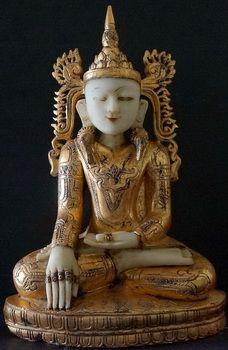 Burmese Alabaster Shan Royal King Buddha Statue
