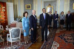 U.S. President Barack Obama, right, meets with Swedish King Carl XVI Gustaf, center, and Queen Silvia, left, at the Royal Palace, Thursday, 5 Sept. 2013, in Stockholm, Sweden.