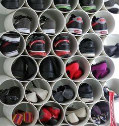 Ein DIY Schuhregal kann interessant und schick erscheinen