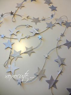 lucky LITTLE STARS decoration - fairy little stars - baby girls nursery - 9 feet -autumn colors by xoxocute on etsy. $13.00, via Etsy.