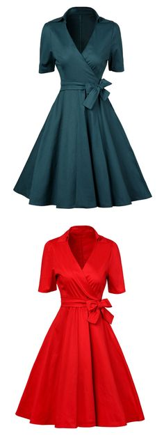 US$ 32.67 Vintage Cross Wrap Lapel Short Sleeve Dress For Women