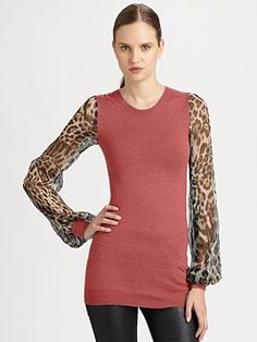 Just Cavalli - Colorblock/Leopard-Print Top