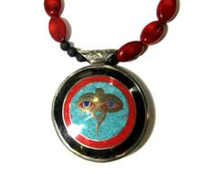 Coral necklace Red coral Volcanic lava Nepal pendant Tibet Buddha eye Two sided Endless knot Buddhist symbols Meditation necklace Gift for her Gems Turquoise Lapis lazuli Coral Black horn White metal Bronze Handmade jewelry Coral Jewelry, Gems Jewelry, Pendant Jewelry, Diy Jewelry, Handmade Jewelry, Pendant Necklace, Jewelry Necklaces, Knot Necklace, Eye Necklace