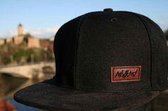 2692379685444  Nebelkind Classy  Snapback - Black plain Snapback Cap mit with brim made  of suede