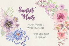 Watercolor wreath in Sunset Hues by Lolly's Lane Shoppe on @creativemarket
