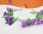 Summer bracelet of purple roses on a metal chain OOAK