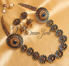 Gorgeous blue royal bridal kemp necklace set