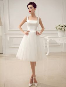 Square Neck Applique Satin Short Wedding Dress with Beading Bow Sash