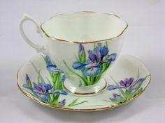 Royal Albert Crown China Iris Tea Cup Saucer | eBay