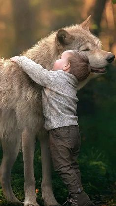 The Boy and the Wolf (.very touching, the wolf looks pleased, lol ♥) J Wolf Love, Animals For Kids, Animals And Pets, Cute Animals, Wolf Spirit, My Spirit Animal, Wolf Pictures, Animal Pictures, Wolf Photos