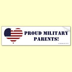 Patriotic Proud Military Parents Bumper Sticker by XG Designs NYC. $4.75 #military #supportthetroops #bumpersticker