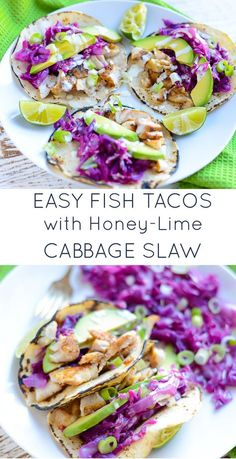 These Easy Fish Tacos with Honey-Lime Cabbage Slaw are so flavorful and a delicious, simple way to eat more fish. Naturally gluten- and dairy-free. www.realfoodwholelife.com