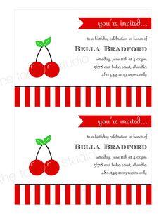 Cherry Party Printable Invitation Design by tomkatstudio
