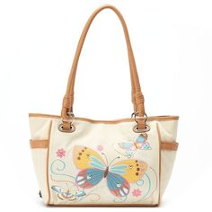 Rosetti Savannah Garden Butterfly & Floral Shopper (31 AUD) ❤ liked on Polyvore featuring bags, handbags, tote bags, totes, beige oth, shopping bag, handbags totes, zippered tote bag, floral tote and man bag