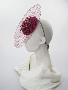 Philip Treacy. Fuschia circular headdress. Any season. Free size.
