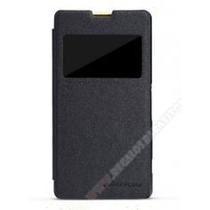 Funda con ventana Xperia Z1 Compact diseño Nillkin en color negro