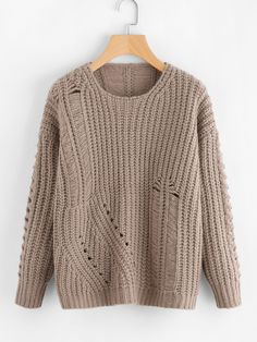 To find out about the Laddering Detail Eyelet Jumper at SHEIN, part of our latest Sweaters ready to shop online today! Loose Knit Sweaters, Cardigan Pattern, Feminine Style, Thing 1, Long Sleeve Tops, Knitwear, Sweaters For Women, Fashion Outfits, Women's Fashion