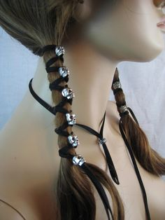 2 Skull Black Suede Ponytail Holder Hair Wrap Skeleton Beads Biker Goth leather Hair Jewelry. $28.00, via Etsy.