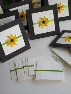 Sunflower wedding invitations with quilled flower and satin ribbon Outdoor Wedding Decorations, Outdoor Weddings, Wedding Tips, Wedding Planning, Sunflower Wedding Invitations, Outside Wedding, Ribbon, Satin, Entertaining