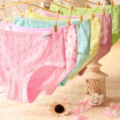 Sexy Women Low Waist Cotton Panties Briefs Breathable Flower Knickers Underpants
