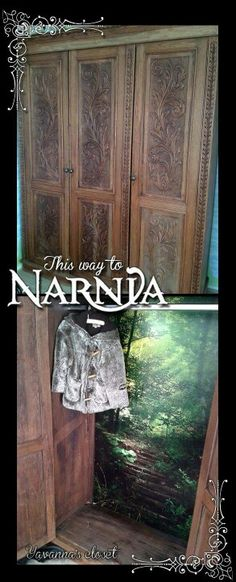 Bought this great closet via a 2nd hand website. Forest wallpaper turned it into a Narnia entrance!