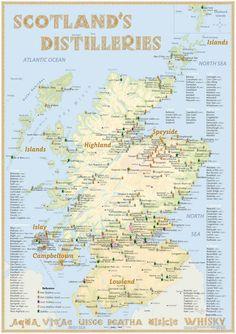 Whisky Distilleries Scotland - Poster 60x42cm Standard Edition