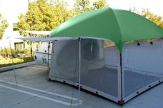 Our side mount screen room tent by pahaque will keep you shaded and protected from the elements. Browse more trailer accessories from Teardrop Shop! Family Camping, Tent Camping, Camping Ideas, Glamping, Camping Cabins, Camping List, Camping Trailers, Little Guy Trailers, Ideas