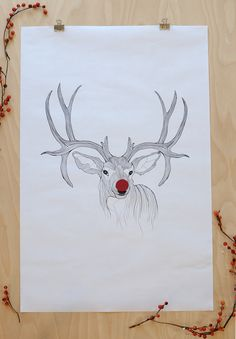 Print out this poster size reindeer for the holidays - free printable