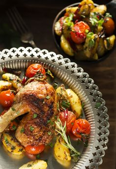 Spicy potatoes salad and roasted chicken
