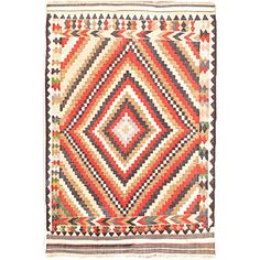Ottoman Kilim in Cream and Navy