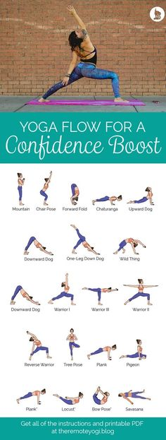 Yoga Sequence for Confidence - Free Printable PDF This yoga sequence is designed with postures that will expand your chest, increase your levels of testosterone, and boost your confidence. Get the PDF and details at theremoteyogi.blog #YogaforConfidence #ConfidenceBoost