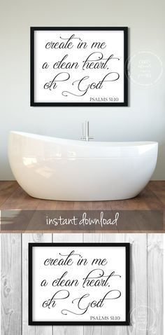 Bathroom Wall Art | Bible Verse | Scripture | Christian Decor | Bathtub | Clean Heart | Psalms | Religious Wall Decor | Modern | Simple