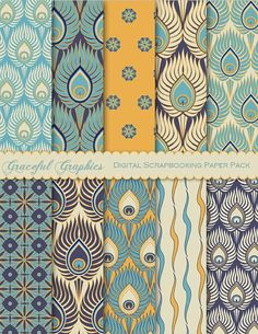 Paper Pack Digital Scrapbooking Background Papers RETRO Pack PEACOCK Blue Gold Navy White 10 Sheets x 11 invitation background designsinvitation background designs Digital Scrapbook Paper, Scrapbooking Stickers, Deco Stickers, Decoration Stickers, Fabric Patterns, Print Patterns, Design Patterns, Packs Papier, Motif Art Deco