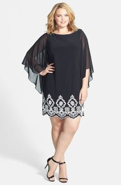 Xscape Beaded Hem Short Shift Dress (Plus Size) available at #Nordstrom
