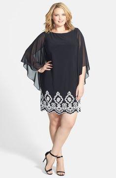 Xscape Beaded Hem Short Shift Dress (Plus Size) available at #Nordstrom