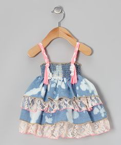Look at this Pink Lace Tiered Denim Tunic - Infant on #zulily today!