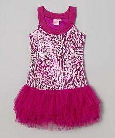 Look what I found on #zulily! Fuchsia Leopard Sequin Drop-Waist Dress - Toddler & Girls by Lipstik Girls #zulilyfinds