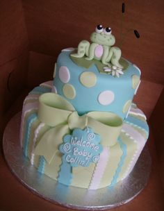 #Frog #Baby #Shower #Cake by Anna Cakes!