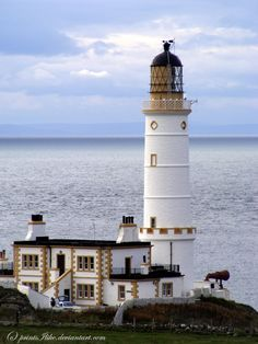 Corsewall Lighthouse is a lighthouse at Corsewall Point, Kirkcolm near Stranraer in the region of Dumfries and Galloway in Scotland. First lit in it overlooks the North Channel of the Irish Sea. The definition of the name Corsewall is the place or w Saint Mathieu, Lighthouse Pictures, Irish Sea, Beacon Of Light, Water Tower, Le Moulin, Perth, Beautiful Places, Scenery
